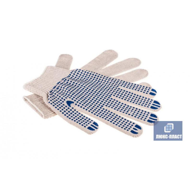 перчатки с напылением ПВХ точка, 10-й класс вязки 5-ти нитка