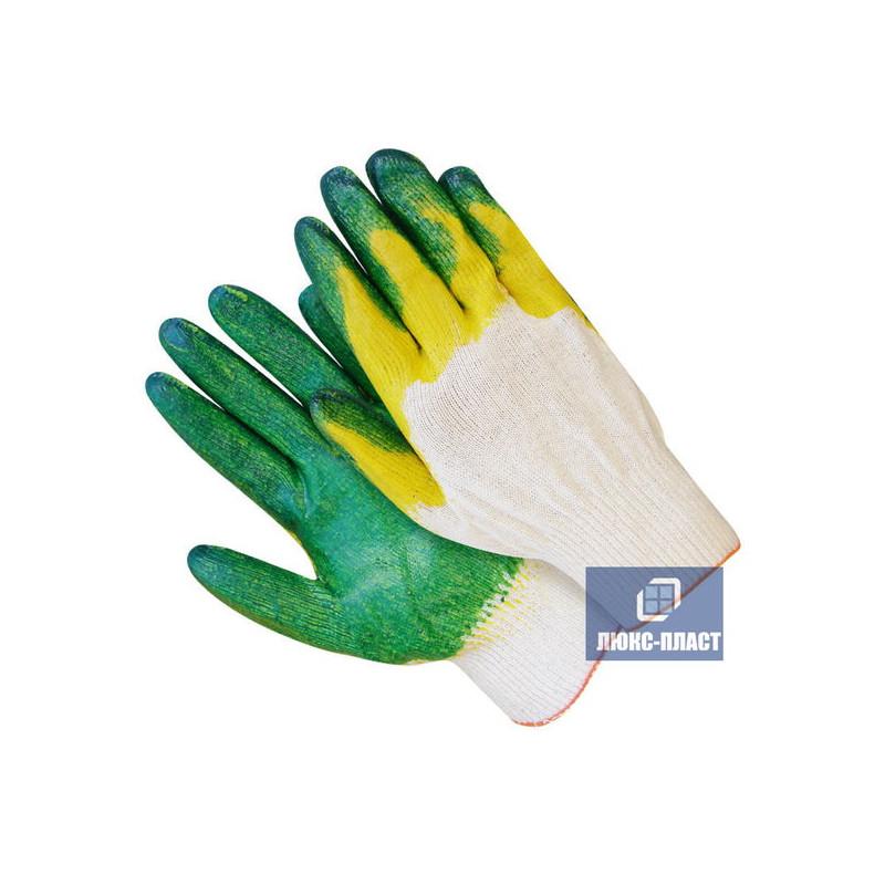 перчатки x/б с двойным обливом, 13-й класс вязки