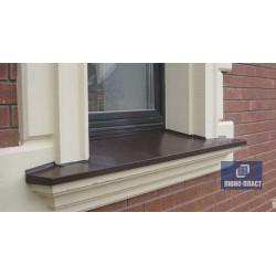 окно с коричневым отливом