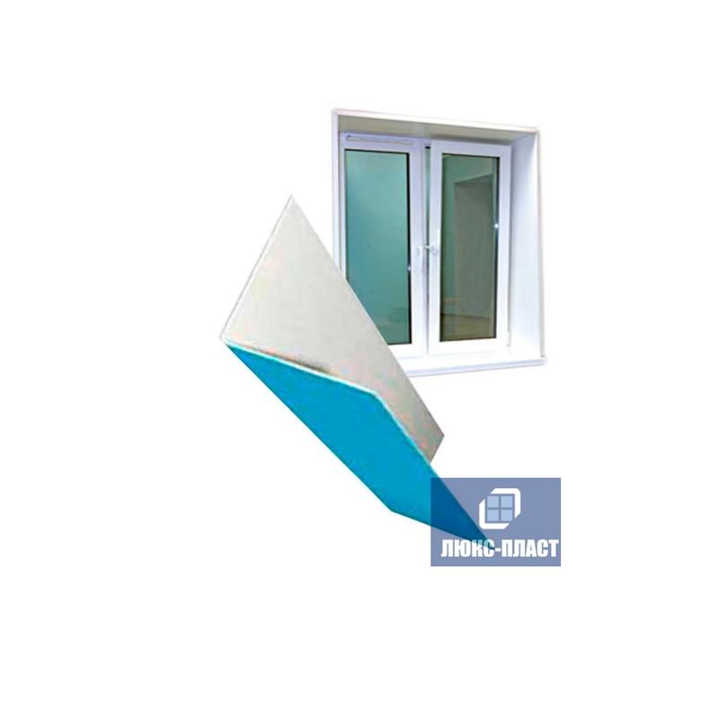 фрагмент уголка пвх в защитной пленке и окно